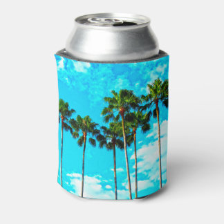 Cool Tropical Palm Trees Blue Sky Can Cooler