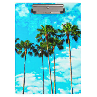 Cool Tropical Palm Trees Blue Sky Clipboards