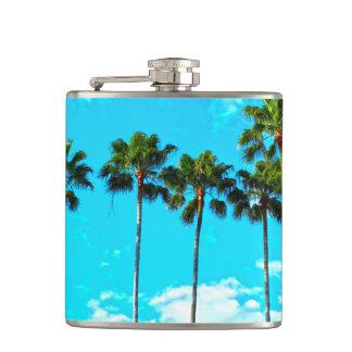Cool Tropical Palm Trees Blue Sky Hip Flask