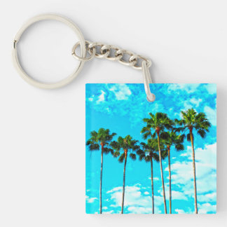 Cool Tropical Palm Trees Blue Sky Key Ring