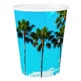 Cool Tropical Palm Trees Blue Sky Paper Cup