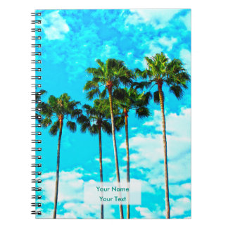 Cool Tropical Palm Trees Blue Sky Spiral Note Books
