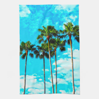 Cool Tropical Palm Trees Blue Sky Tea Towel