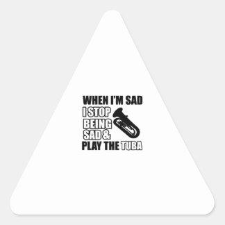 Cool Tuba designs Triangle Sticker