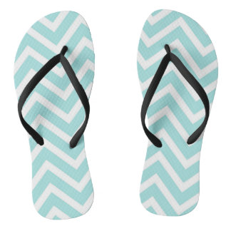 Cool Turquoise Chevron Pattern Thongs