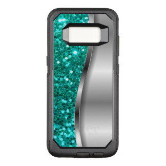 Cool Turquoise Glitter OtterBox Commuter Samsung Galaxy S8 Case