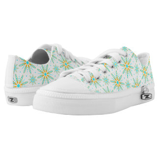 Cool turquoise orange winter snowflakes patterned low tops