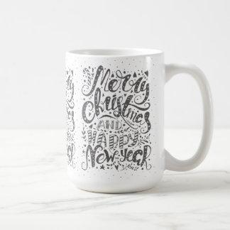 Cool Typography Merry Christmas Happy New Year Coffee Mug