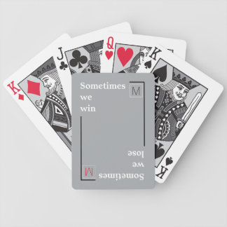 cool typography win / lose bicycle playing cards