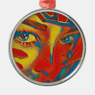 Cool Uncommon Contemporary Artistic Eyes Metal Ornament