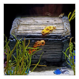 Cool Underwater Treasure Chest Poster