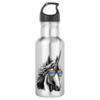 Cool unicorn with rainbow sunglass 532 ml water bottle