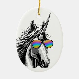 Cool unicorn with rainbow sunglass ceramic oval decoration