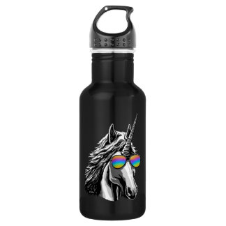 Cool unicorn with rainbow sunglasses 532 ml water bottle