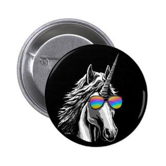 Cool unicorn with rainbow sunglasses 6 cm round badge