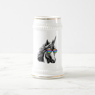 Cool unicorn with rainbow sunglasses beer stein