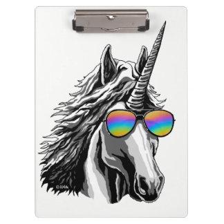 Cool unicorn with rainbow sunglasses clipboard