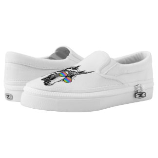 Cool unicorn with rainbow sunglasses printed shoes