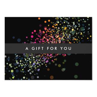 COOL & UNIQUE BLACK CONFETTI Gift Certificate 11 Cm X 16 Cm Invitation Card