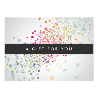 COOL UNIQUE COLORFUL CONFETTI Gift Certificate Custom Invite