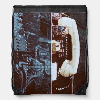 Cool urban street payphone receiver drawstring bag