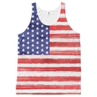 Cool USA Flag Modern 4th of July Patriotic All-Over Print Singlet