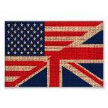 Cool usa union jack flags burlap texture effects photo art