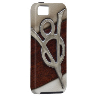 Cool V8 Chrome Emblem with Leather and Wood Case For The iPhone 5