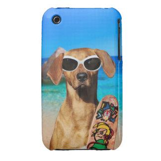 Cool vacation surfer dog, Rhodesian Ridgeback iPhone 3 Case