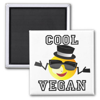 Cool Vegan Emoji Square Magnet