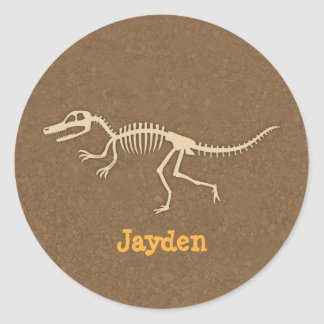 Cool Velociraptor Dinosaur Bones For Boys Round Sticker