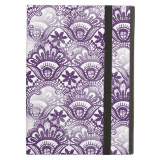 Cool Vibrant Distressed Purple Lace Damask Pattern iPad Air Covers
