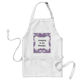 Cool Vibrant Distressed Purple Lace Damask Pattern Standard Apron