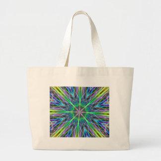 Cool Vibrant Neon Pastel Aura Mandela Large Tote Bag