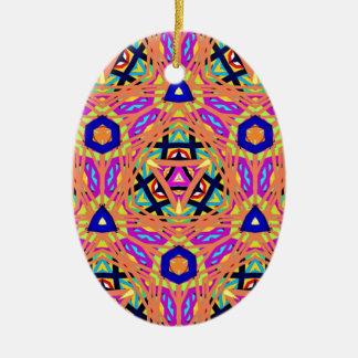 Cool Vibrant Pastel Festive Pattern Ceramic Ornament