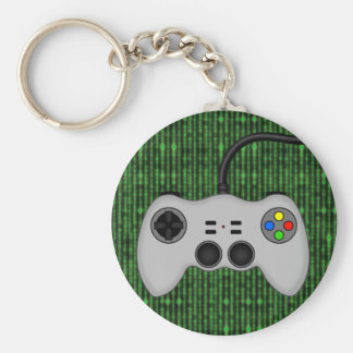 Cool Video Game Controller Vector in Grey Basic Round Button Key Ring