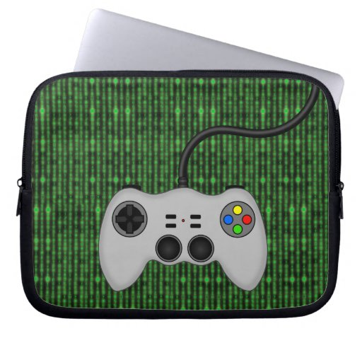 Cool Video Game Controller Vector in Grey Laptop Computer Sleeves