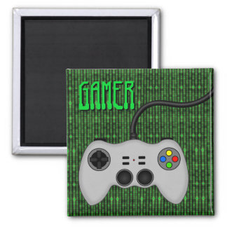 Cool Video Game Controller Vector in Grey Square Magnet