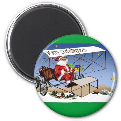 Cool Vintage Biplane Santa Claus 6 Cm Round Magnet