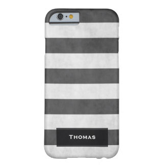 Cool Vintage Black and White Stripes Textured Barely There iPhone 6 Case