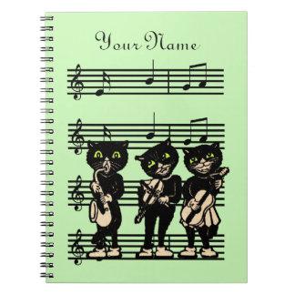 Cool Vintage Black Cat Musicians on Music Sheet Notebooks