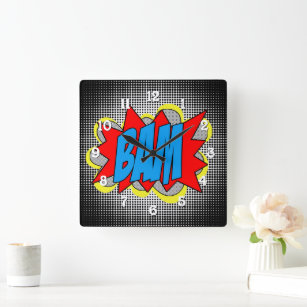 Cool Vintage Comic Book Pop Art Style BAM! Square Wall Clock
