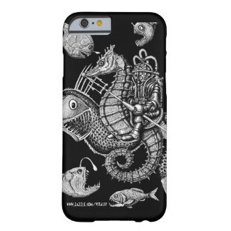 Cool vintage diver on seahorse ink drawing art barely there iPhone 6 case