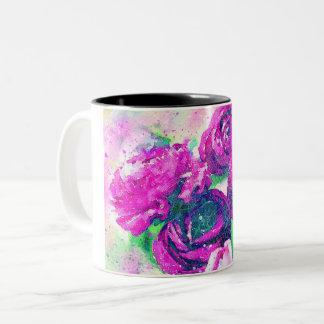 Cool Vintage Flowers Two-Tone Coffee Mug