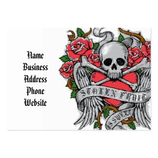 Cool  Vintage flowery skull with wings Tattoo Large Business Cards (Pack Of 100)
