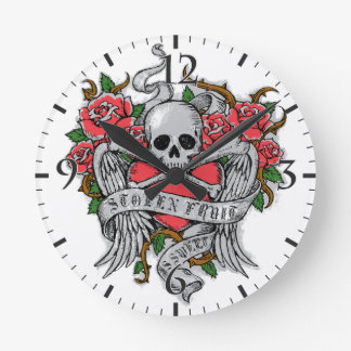 Cool  Vintage flowery skull with wings Tattoo Round Wall Clocks