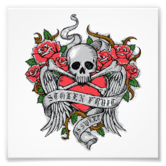 Cool Vintage flowery skull with wings Tattoo Photograph