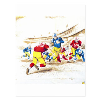 Cool Vintage Football Game Players Photo Image Postcard