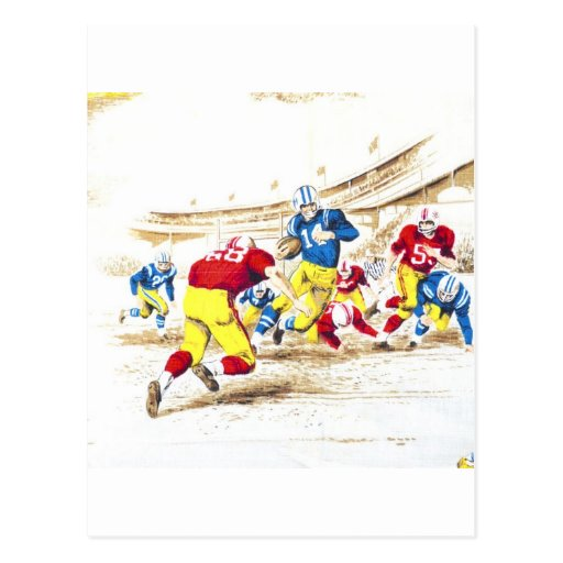 Cool Vintage Football Game Players Photo Image Post Cards