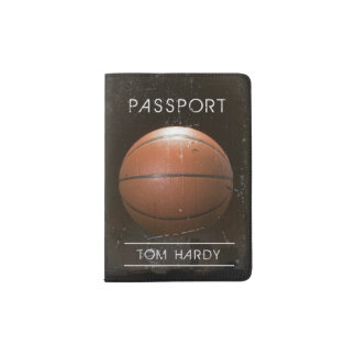 Cool Vintage Grunge Basketball Personalized Passport Holder